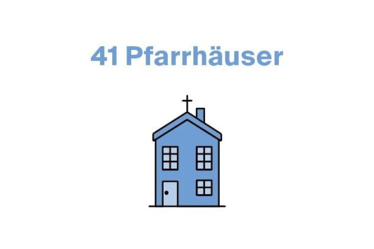 41 Pfarrhäuser, davon sind 34 denkmalgeschützt