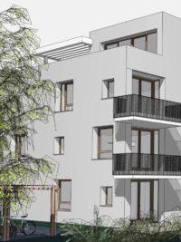 Zeichnung des zukünftigen Sophien Carrees in Karlsruhe. Man sieht einen modernen Neubau mit Balkonen und großen Fenstern.