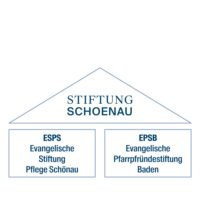 Die Stiftung Schönau ist die Dachmarke der Evangelischen Stiftung Pflege Schönau kurz ESPS und der Pfarrpfründestiftung Baden kurz EPSB. Dies ist in Form eines Daches auf zwei Säulen dargestellt.