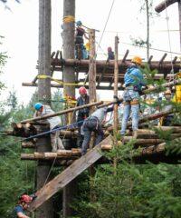 Junge Menschen sind mit Klettergurten gesichert und erbauen ein Baumhaus